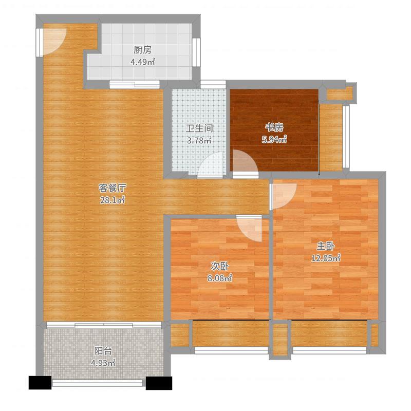 天庆晋海岸D3户型3房2厅
