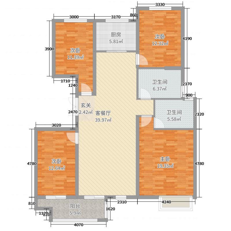 明珠美丽岛155.27㎡D4户型4室4厅2卫1厨
