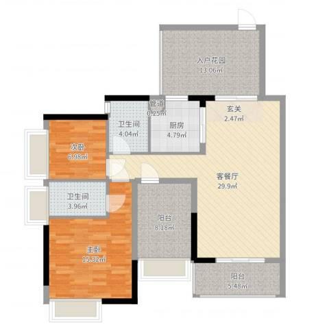 招商金山谷2室2厅2卫1厨115.00㎡户型图