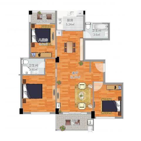 练市镇东方豪园1室1厅2卫1厨113.00㎡户型图