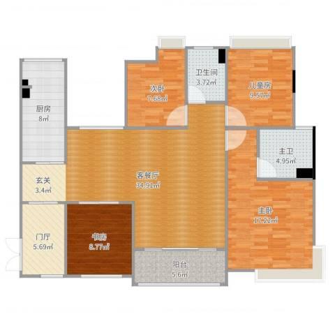 大朗美爵花园4室2厅1卫1厨133.00㎡户型图