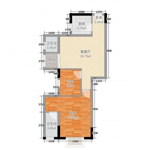 侨园・黄金海岸2室2厅2卫1厨76.00㎡户型图