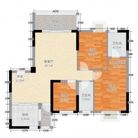 侨园・黄金海岸3室2厅2卫1厨116.00㎡户型图
