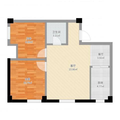国民院子2室1厅1卫1厨65.00㎡户型图