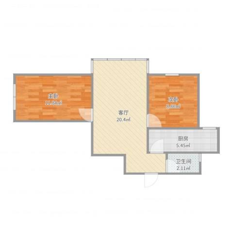 枣营北里2室1厅1卫1厨61.00㎡户型图