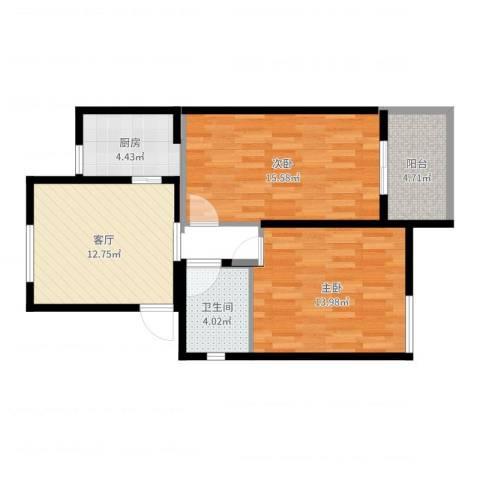 南苑七村2室1厅1卫1厨69.00㎡户型图