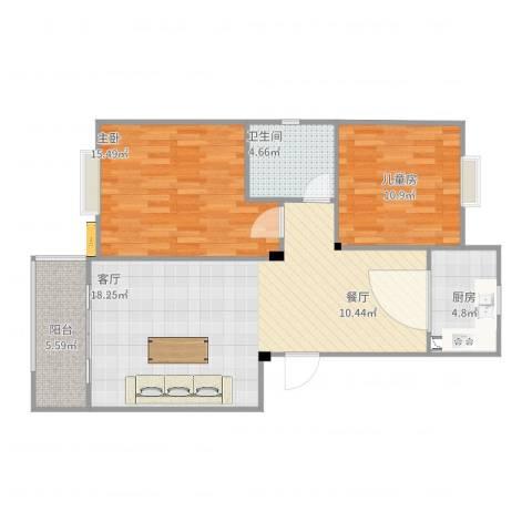 南湖春城2室1厅1卫1厨99.00㎡户型图
