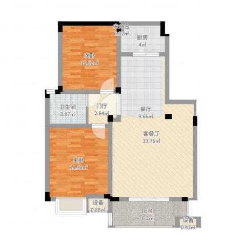 南湖春城2室2厅1卫1厨113.00㎡户型图