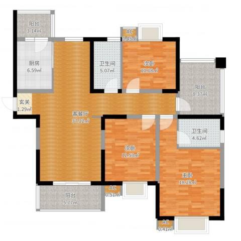 含光香榭丽都3室2厅2卫1厨141.00㎡户型图