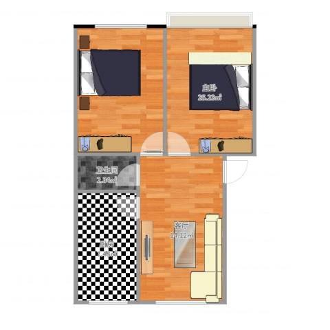 中环11区1室1厅1卫1厨61.00㎡户型图