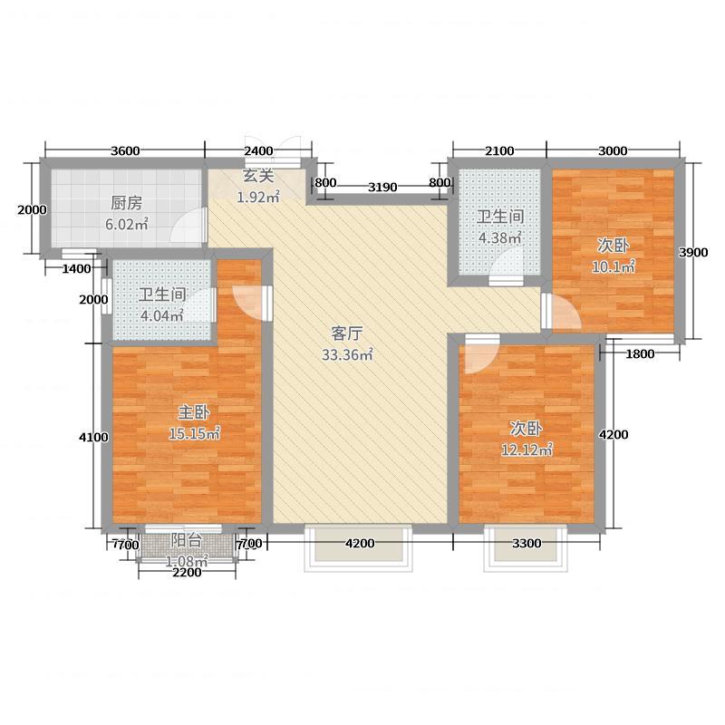 天庆国际新城123.00㎡B区H2户型3室3厅2卫1厨