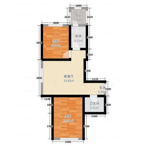 卓扬中华城2室2厅1卫1厨80.00㎡户型图