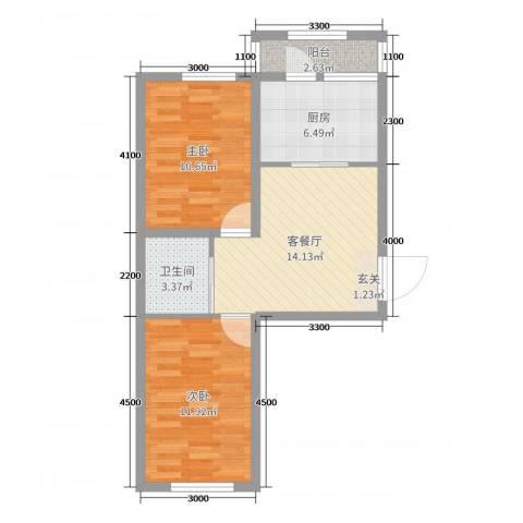 卓扬中华城2室2厅1卫1厨77.00㎡户型图