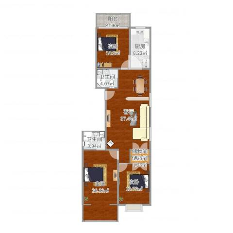 东方花园3室1厅2卫1厨130.00㎡户型图