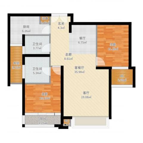 亿城堂庭2室2厅2卫1厨103.00㎡户型图
