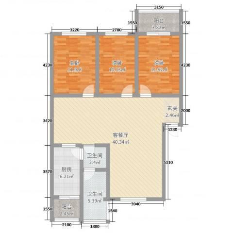 振兴花园3室2厅2卫1厨115.00㎡户型图