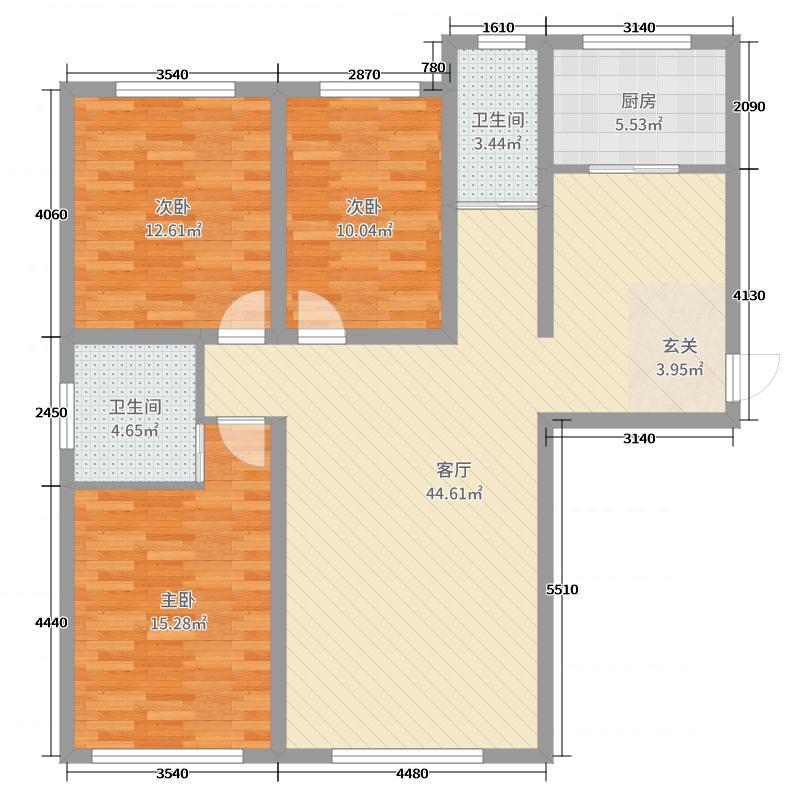 伊川滨河国际120.00㎡C户型3室3厅1卫1厨