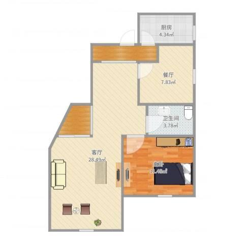 绿庭尚城-121-661室2厅1卫1厨76.00㎡户型图