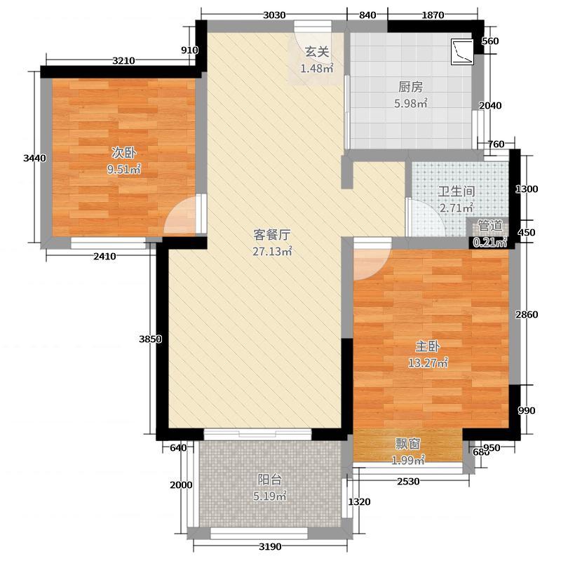 世茂东都・天城80.00㎡高层中户A1户型2室2厅1卫1厨