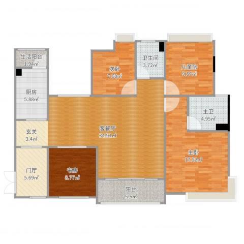 大朗美爵花园4室2厅1卫1厨132.00㎡户型图
