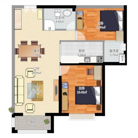 御府天苑13号楼2室2厅1卫1厨89.00㎡户型图