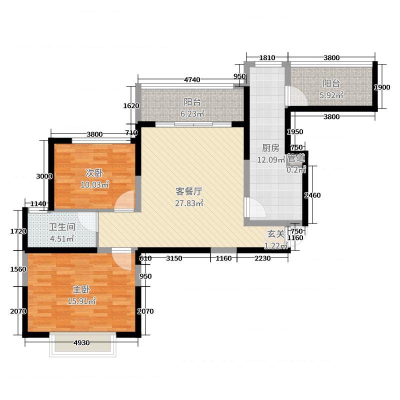 恒大名都103.38㎡1#楼4户型2室2厅1卫1厨