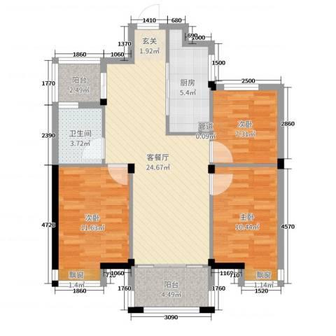祥盛明湖湾3室2厅1卫1厨88.00㎡户型图