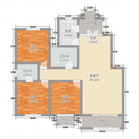 上海公馆3室2厅2卫1厨128.00㎡户型图