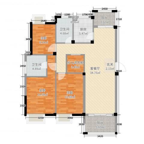 祥盛明湖湾3室2厅2卫1厨122.00㎡户型图