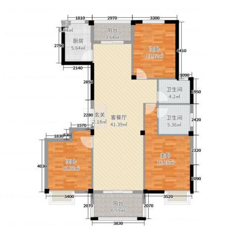 祥盛明湖湾3室2厅2卫1厨138.00㎡户型图