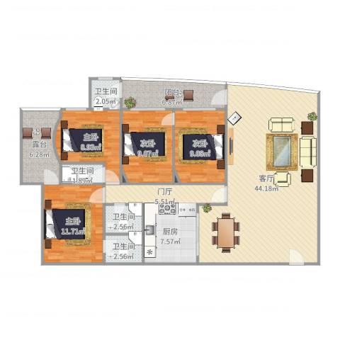 东方巴黎广场三期150.52m²4室1厅4卫1厨148.00㎡户型图
