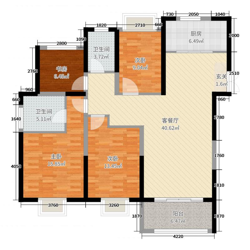 中国铁建青秀城134.00㎡一期1-6#、10#标准层D户型4室4厅2卫1厨