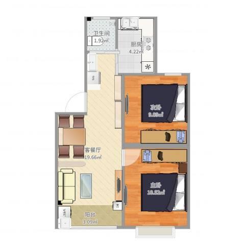 绿地御桥苑2室2厅1卫1厨57.00㎡户型图