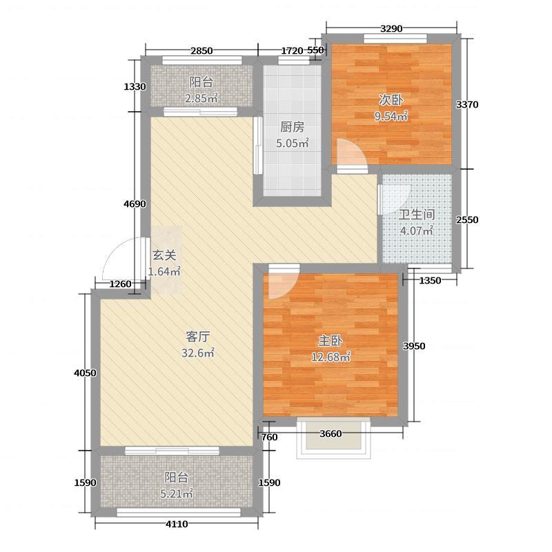 重汽翡翠东郡88.00㎡10#楼A1户型2室2厅1卫1厨
