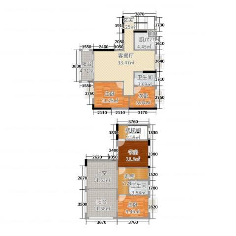 ���L佳苑4室2厅2卫1厨125.08㎡户型图