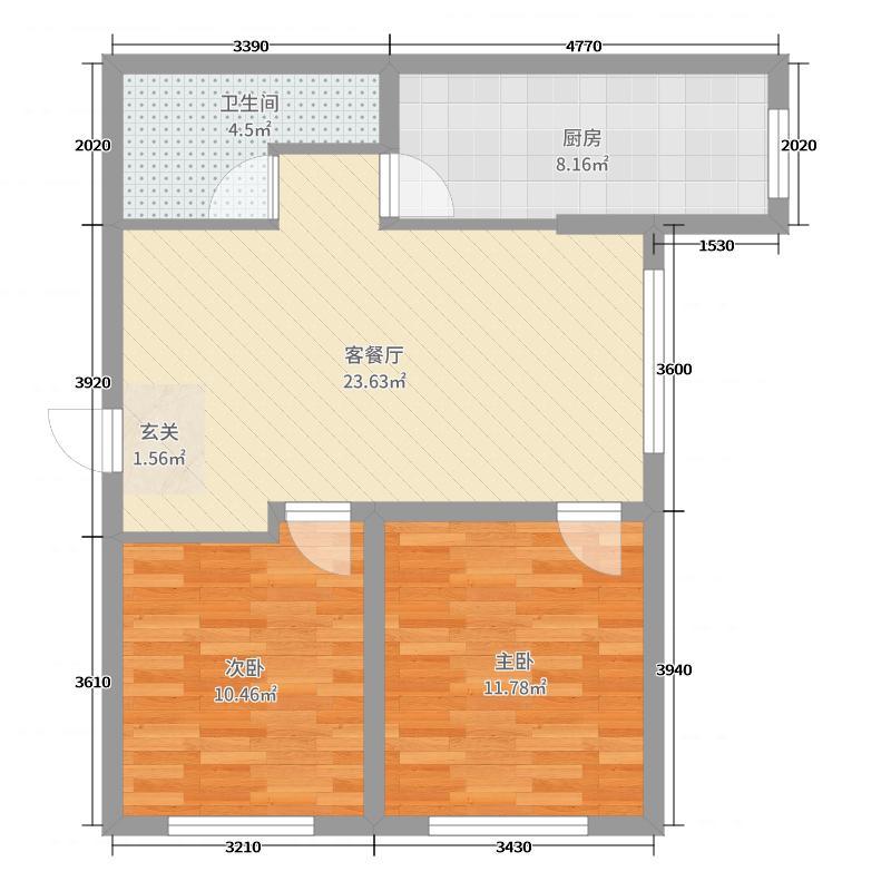 置信・澜悦东方89.00㎡I户型2室2厅1卫1厨