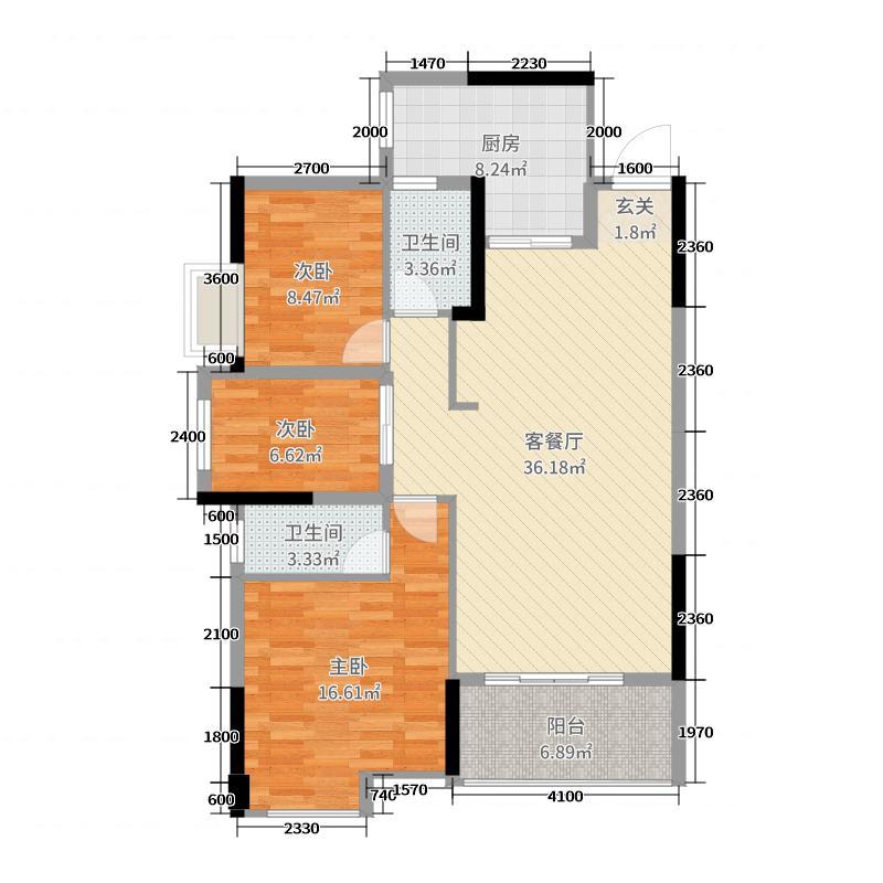 龙腾豪园113.36㎡一期13号楼标准层03户型3室3厅2卫1厨