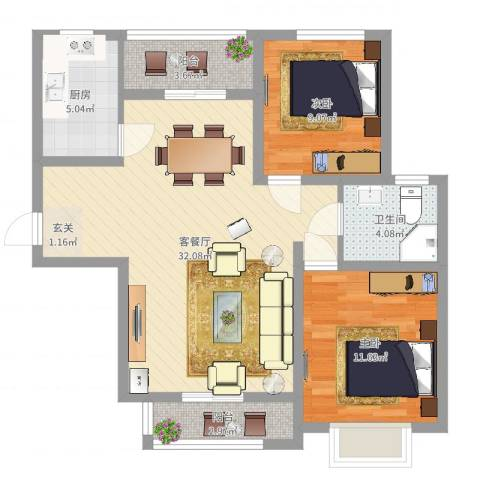 阳光威尼斯三期2室2厅1卫1厨86.00㎡户型图