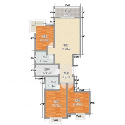 奥龙湾3室1厅2卫1厨134.00㎡户型图