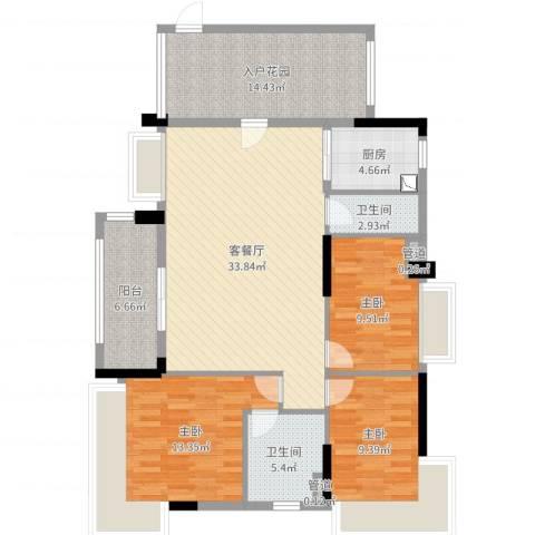 华南城十里东岸3室2厅2卫1厨126.00㎡户型图