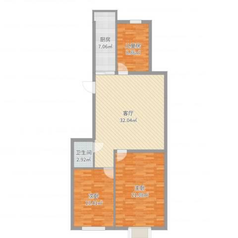 舒雅名苑3室1厅1卫1厨107.00㎡户型图