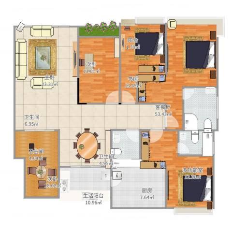 中海万锦豪园4室2厅3卫1厨213.00㎡户型图