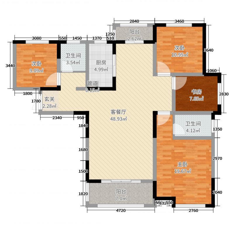 锦雍水之郡148.00㎡3#B2户型3室3厅2卫1厨