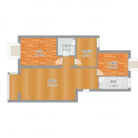 西山枫林四区2室2厅1卫1厨105.00㎡户型图