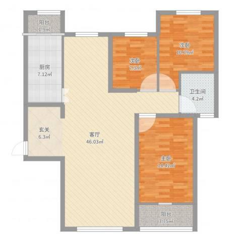 水木融城3室1厅1卫1厨119.00㎡户型图