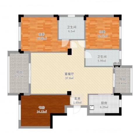 泰地世锦园3室2厅2卫1厨140.00㎡户型图