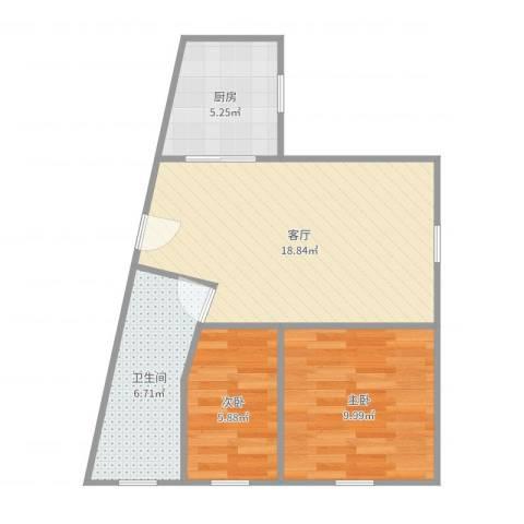 静安丽舍2室1厅1卫1厨58.00㎡户型图