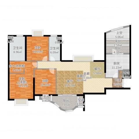 静安四季苑3室2厅2卫1厨179.00㎡户型图