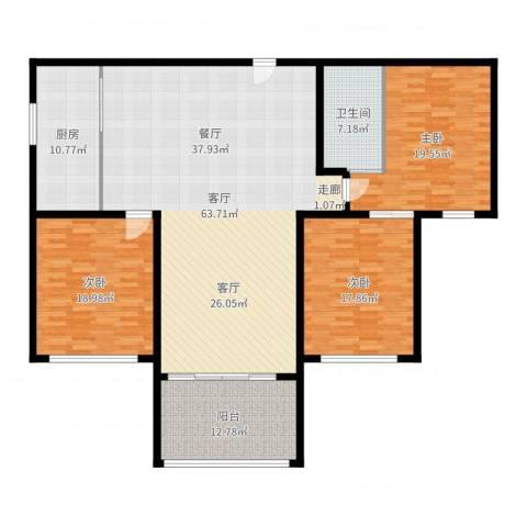 上城uptown3室1厅1卫1厨189.00㎡户型图