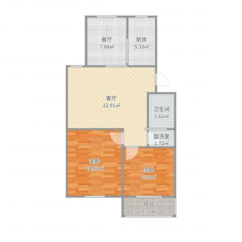 融康苑2室2厅1卫1厨88.00㎡户型图